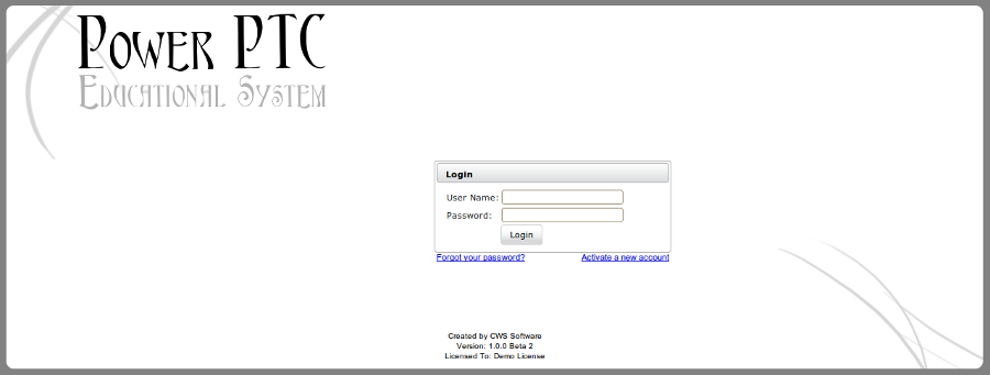 Power PTC Login Screen